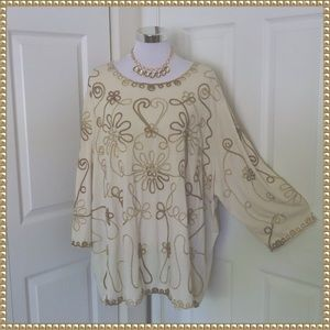 NWOT Plus Catherines Embroidered Cream and Gold Tunic Size 3X